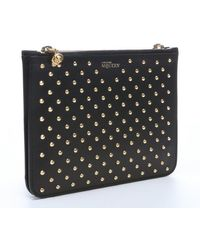 Alexander McQueen Black Leather Spiked Double Pouch Clutch - Lyst