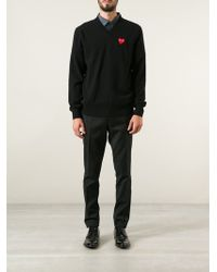 Comme Des Garçons Embroidered Heart Sweater - Lyst