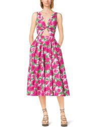 Michael Kors Peony-Print Cotton-Poplin Tie-Front Dress - Lyst