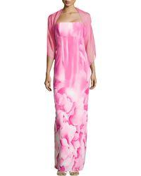 ML Monique Lhuillier Hydrangea-Print Strapless Gown - Lyst