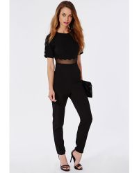 Missguided Scallop Mesh Panel Jumpsuit Black - Lyst