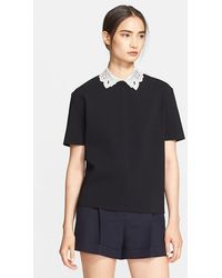Valentino Leather Collar Top - Lyst