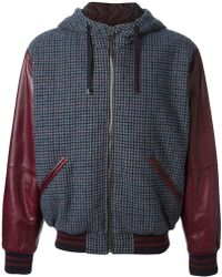 Dolce & Gabbana Checked Leather Sleeves Jacket - Lyst