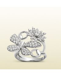 Gucci Flora Ring In White Gold And Diamonds silver - Lyst