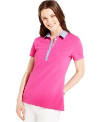 Tommy Hilfiger Contrast-Collar Polo Shirt purple - Lyst