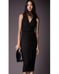 Burberry Ruffle Detail Silk Blend Organza Dress - Lyst