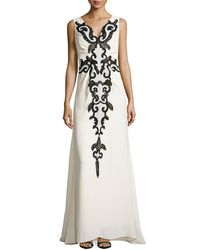 Carolina Herrera Silk V-neck Applique Gown - Lyst