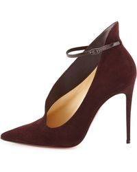 Christian Louboutin Vampydoly Suede Ankle-wrap Red Sole Half-bootie - Brown