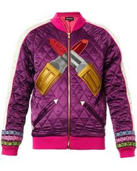 House Of Holland Embroidered Lipstick Satin Bomber Jacket - Lyst