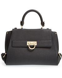 Ferragamo 'Medium Sofia' Leather Satchel black - Lyst