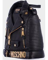 Moschino Black Leather Biker Backpack black - Lyst