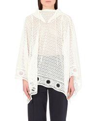 Chloé Hooded Embroidered-Lace Cape - Lyst