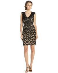 Sue Wong Black Cap Sleeve Embellished Cocktail Dress - Lyst