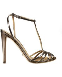 Sergio Rossi 11 Cm Heel Laminated Leather Multibands Sandal Shoes - Lyst