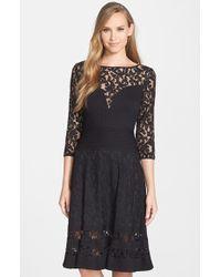 Tadashi Shoji Lace Fit-and-Flare Dress black - Lyst