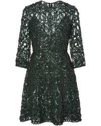 Elie Saab | Foliage Embroidered Short Dress | Lyst