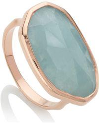 Monica Vinader - Gold Vermeil Aquamarine Capri Ring - Lyst