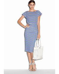 Milly Riviera Stripe Jersey Midi Skirt blue - Lyst