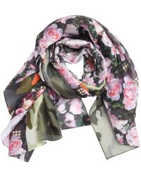 Givenchy Pink and Green Multi Design Cotton Scarf - Lyst