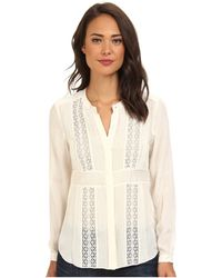 Rebecca Taylor Silky Shirting Lace Blouse - Lyst
