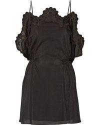 Thakoon Addition - Crochet-Trimmed Cotton And Silk-Blend Poplin Mini Dress - Lyst