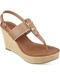 Tommy Hilfiger Maree Platform Thong Wedge Sandals - Brown