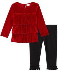 BCBGMAXAZRIA Bcbg Tiered Tunic Top And Legging Set - Black