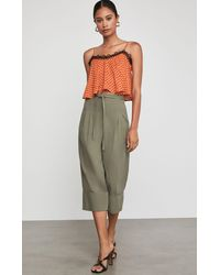 BCBGMAXAZRIA Bcbg Cuffed Tie Front Cropped Pant - Green
