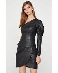BCBGMAXAZRIA Bcbg Lilyan Faux-leather Peplum Top - Black