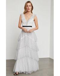 BCBGMAXAZRIA Bcbg Flocked Dot Ruffle Shoulder Gown - White