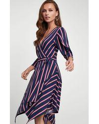 BCBGMAXAZRIA Bcbg Valet Stripe Handkerchief Wrap Dress - Blue