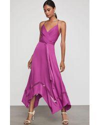 BCBGMAXAZRIA Bcbg Faux Wrap Handkerchief Dress - Purple