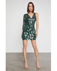 BCBGMAXAZRIA - Bcbg Metallic Faux Wrap Dress - Lyst