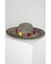 BCBGMAXAZRIA Bcbg Pom Party Woven Hat - Multicolor