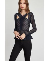 BCBGMAXAZRIA - Bcbg Long Sleeve Striped Lace Top - Lyst
