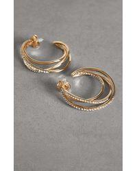BCBGMAXAZRIA Bcbg Hoop Earrings With Swarovski® Crystals - Metallic
