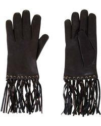 BCBGMAXAZRIA Fringe Leather Gloves - Black