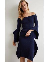 BCBGMAXAZRIA Bcbg Off The Shoulder Knit Top - Blue