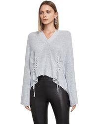 BCBGMAXAZRIA - Cotton Lace-up Hoodie - Lyst