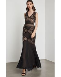 BCBGMAXAZRIA Bcbg Scrolling Embroidery Gown - Black