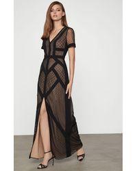 BCBGMAXAZRIA Bcbg Diamond Tulle Dotted Dress - Black