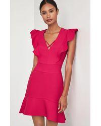 BCBGMAXAZRIA Bcbg Flutter Shoulder Dress - Pink