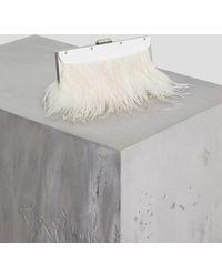 BCBGMAXAZRIA Bcbg Catarina Feather-trimmed Clutch - White