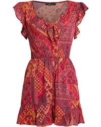 BCBGMAXAZRIA Bcbg Folklore Patchwork Romper - Red