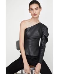 BCBGMAXAZRIA - Bcbg Lilyan Faux-leather Peplum Top - Lyst