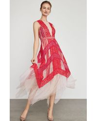 BCBGMAXAZRIA Bcbg Floral Lace Handkerchief Dress - Red