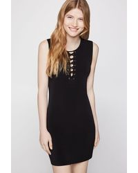 BCBGeneration Sleeveless Laced Bodycon Dress - Black