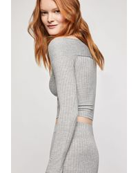 BCBGeneration Off The Shoulder Crop Sweater - Gray