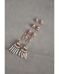 BCBGeneration Set Of 4 Festival Peace Earrings - Metallic