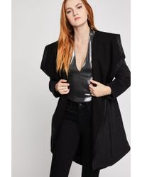 BCBGeneration Hooded Pleather-trimmed Coat